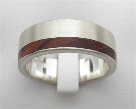 rustic silver ring for with wood inlay