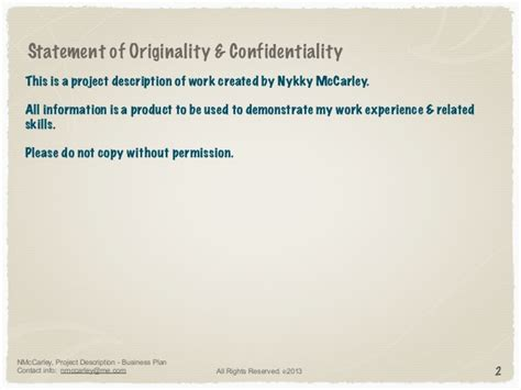 statement of confidentiality of report business plan sle nykky mccarley project description business planning