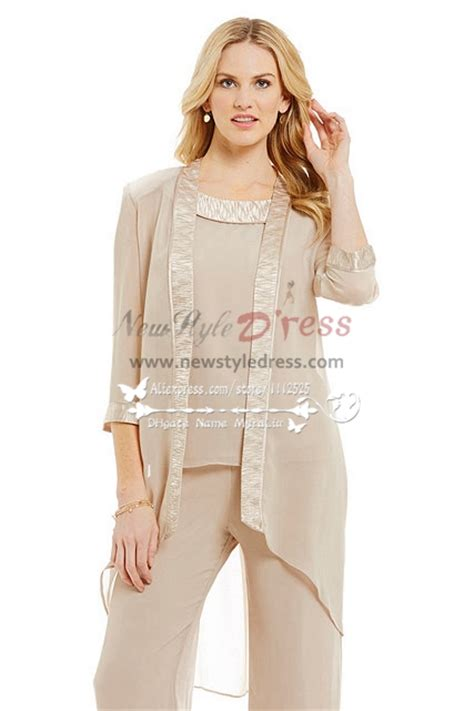 plus size dressy pant suits for weddings chagne chiffon outfits for wedding mother of the bride
