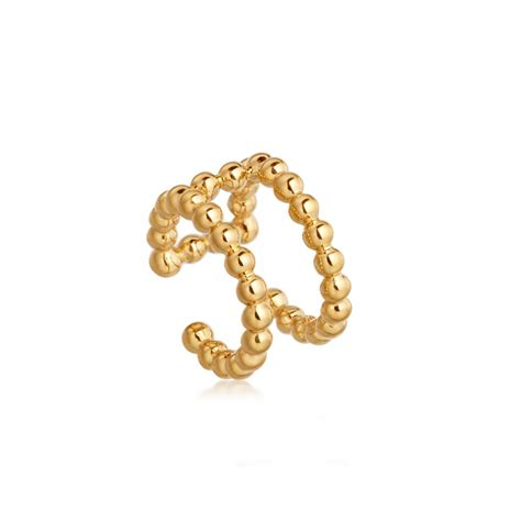 row beaded stilla ear cuff yellow gold vermeil