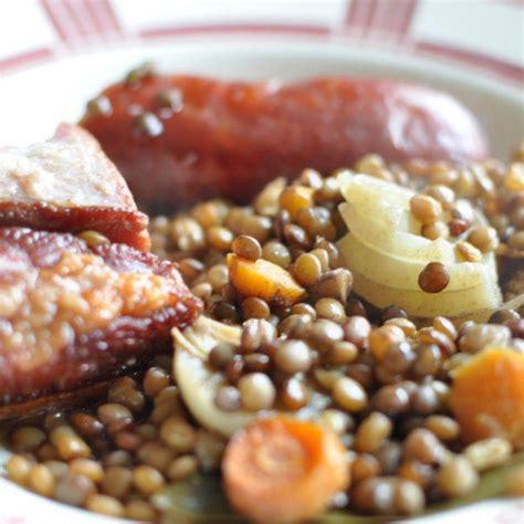 recette comment cuisiner les lentilles saucisse aux lentilles au four avec du lard recette facile