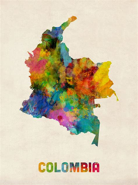 Phone Lookup Colombia Colombia Watercolor Map Digital By Michael Tompsett