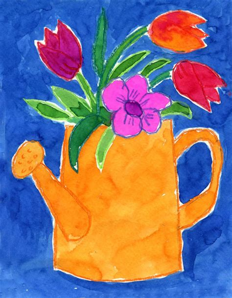 painting ideas for kids art projects for kids watering can flowers painting