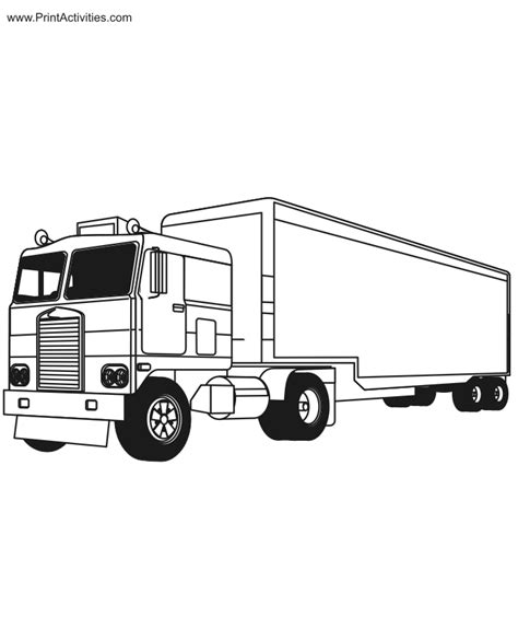 Tractor Trailer Coloring Page Free Printable Truck Activity Tractor Trailer Coloring Pictures