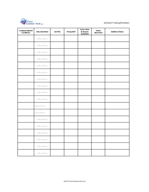 job search tracking worksheet