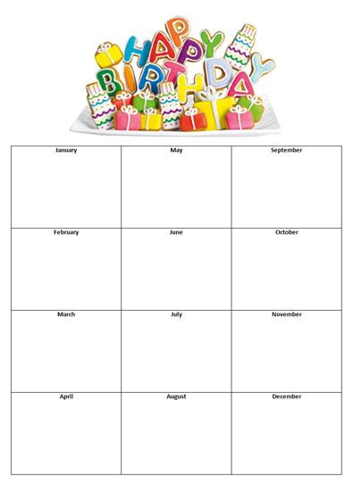monthly birthday calendar template best photos of printable monthly birthday list templates