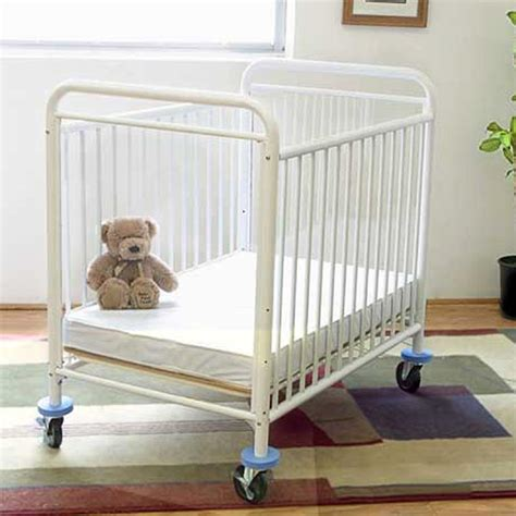 La Baby 3 Compact Crib Mattress La Baby Compact Metal Non Folding Crib With 3 In Mattress White Cribs At Hayneedle