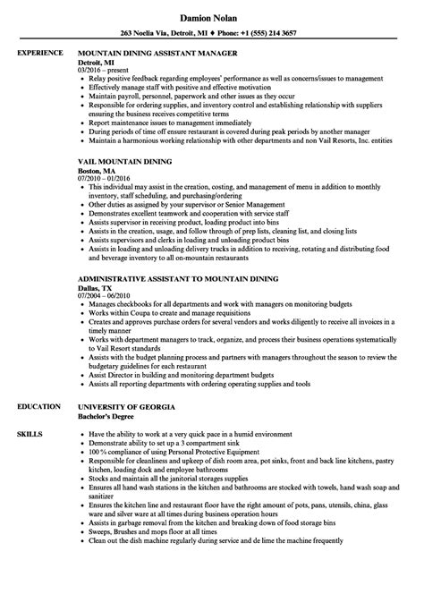 Dining Resume by Mountain Dining Resume Sles Velvet