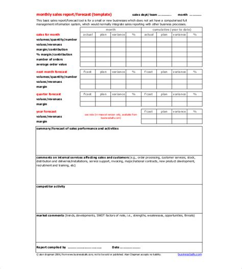 19 monthly report template free sle exle format