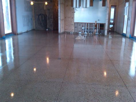 polished concrete floors supporting home interior traba homes