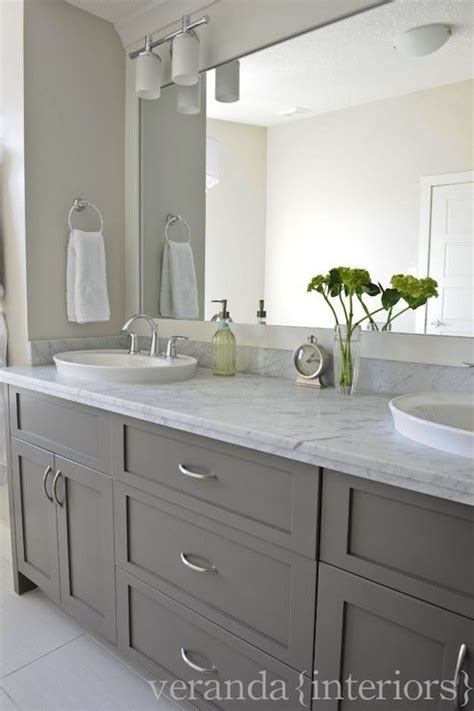 Repainting Kitchen Cabinets Ideas by Gray Double Bathroom Vanity Shaker Cabinets Frameless
