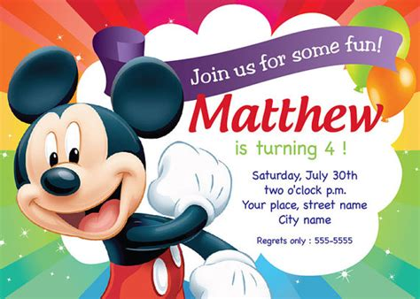 Birthday Invitation Card Mickey Mouse Mickey Mouse Birthday Invitation Card Printable Template