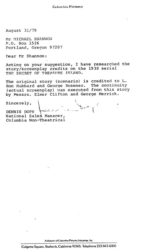 Letter Confirmation Marriage Status 104 Letter From Columbia Pictures August 31 1979 Re Quot Secret Of Treasure Island Quot And Hubbard