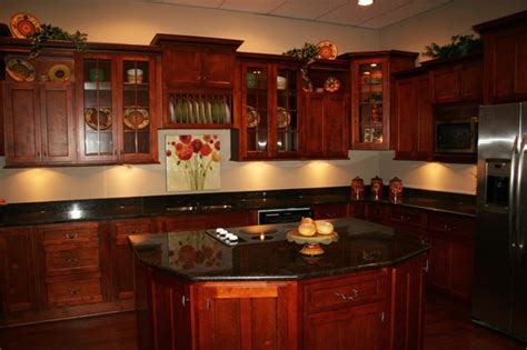 granite with cherry cabinets in kitchens cherry kitchen cabinet pictures and ideas