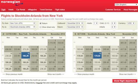 Fly Fare Calendar 365 380 Nyc To Stockholm Copenhagen Oslo R T