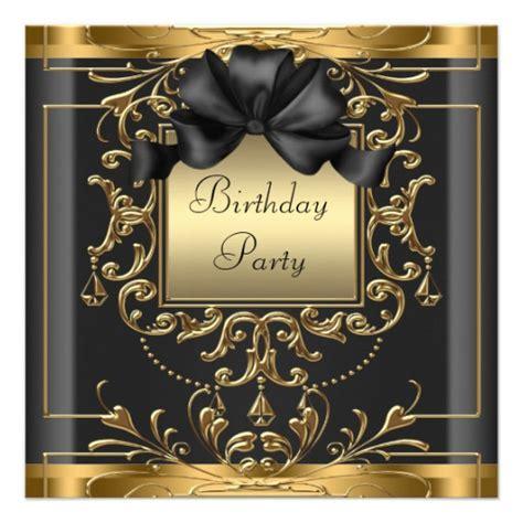 Art Deco Birthday Party 5 25x5 25 Square Paper Invitation Card Zazzle Black And Gold Birthday Invitations Templates