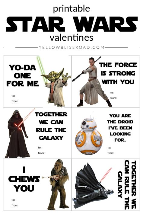 printable pictures star wars printable star wars valentine s day cards yellow bliss road