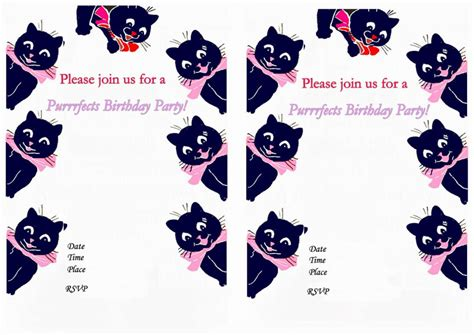 free printable birthday invitations with cats cat lovers birthday invitations birthday printable