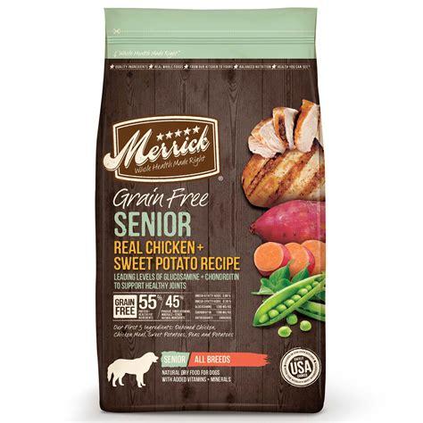 senior food merrick grain free senior real chicken sweet potato food petco
