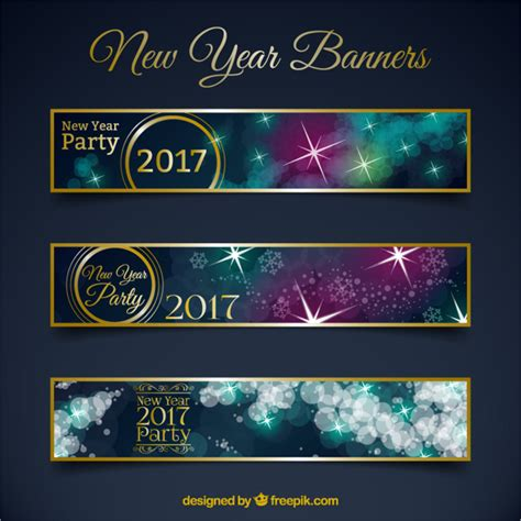 new year banner vector new year banners in bokeh style vector free