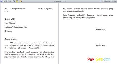 contoh surat pengunduran diri kerja surat resign yang