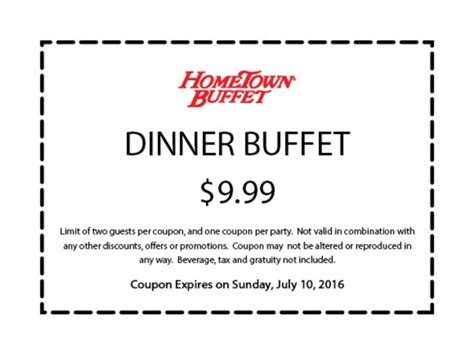 Buffet Coupons 50 Hometown Buffet Promo Code Coupons