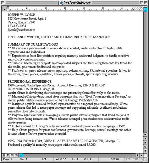 plain text resume format sle hardcopy and plain text resumes susan ireland s resume site