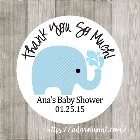 baby shower personalized labels personalized blue elephant stickers for baby shower or