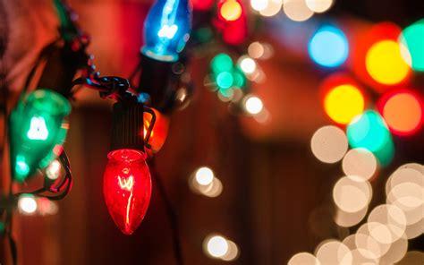 holiday close up lights garland bokeh blur background