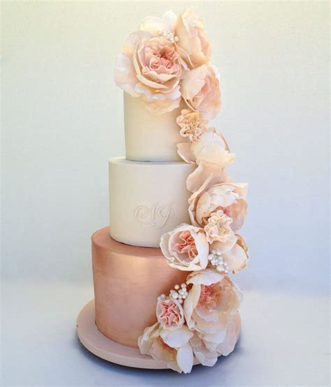 Wedding Theme Idea Pink And Gold Our One 5 by Best 25 Floral Wedding Cakes Ideas On