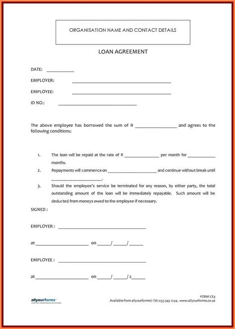Sle Letter For Loan Contract 7 Template Loan Agreement Between Family Members Purchase Agreement