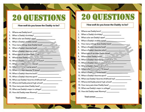 20 Questions Baby Shower by 20 Questions Camouflage Printable Baby