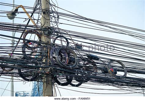 cable electricity power mess stock photos cable