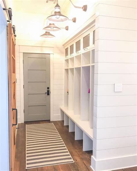 door bm chelsea gray  cabinets bm white dove mudroom