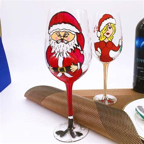 ingrosso bicchieri dipinto natale bicchieri di vino produttore mano bicchieri