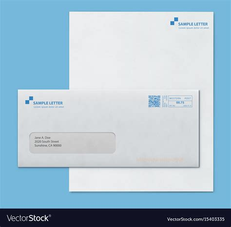 Envelope Letter Paper mockup post envelope and letter paper template vector image