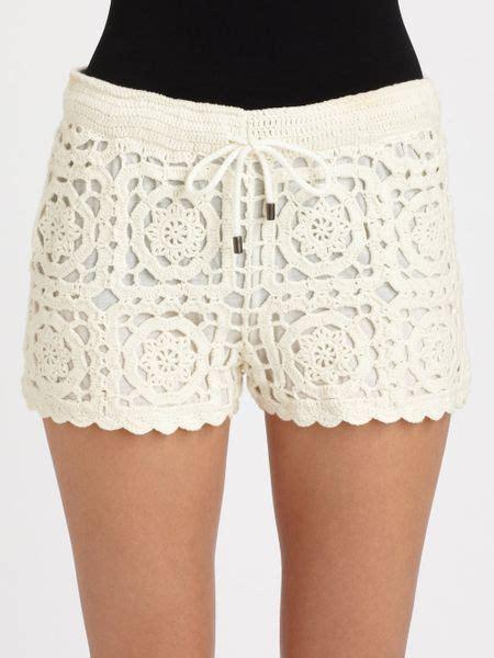 Crochet Shorts joie carmelo crochet shorts in beige porcelain lyst