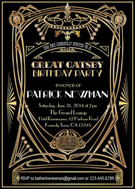 the great gatsby invitation for party best 25 great gats