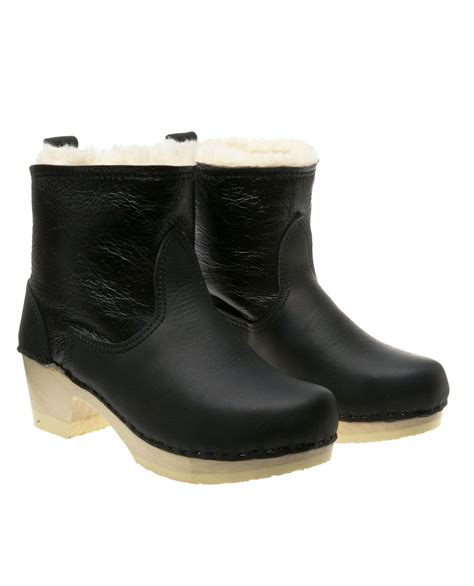 No 6 Clog Boot With Shearling In Black Lyst