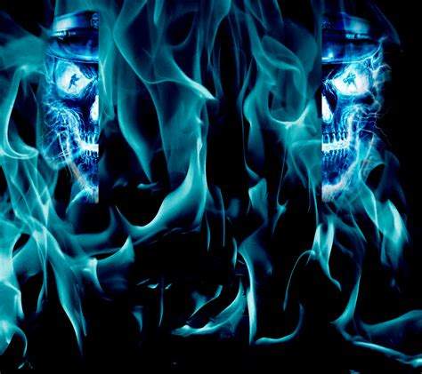 cool wallpaper creator reupload blue skull youtube background by thepoweroffive