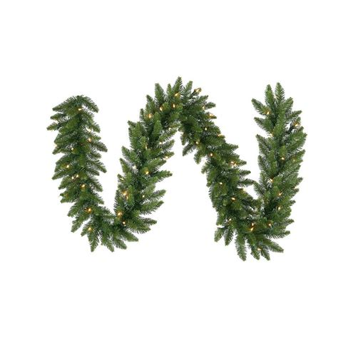 outdoor pre lit garland shop vickerman indoor outdoor pre lit 9 ft l camden fir