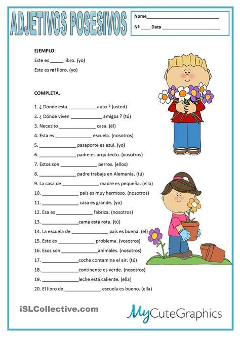 ejercicios para aprender espa ol ejercicios de adjetivos posesivos ficheros pinterest espa 241 ol