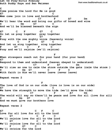 printable elvis lyrics country southern and bluegrass gospel song let us pray
