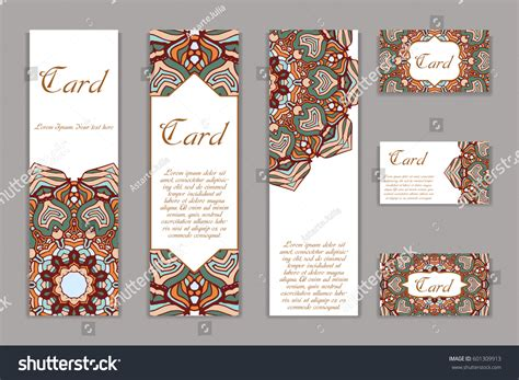 retro place card template retro card mandala vintage background place stock vector