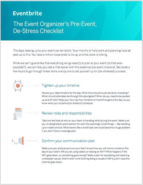 the event organizer s pre event de stress checklist