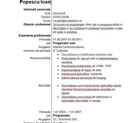 model cv word simplu model cv romana completat simplu image collections