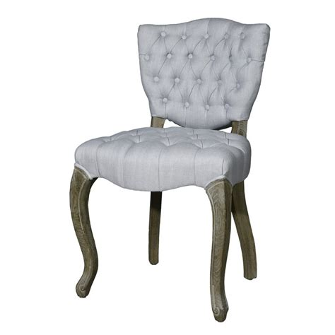 Tufted Upholstered Dining Chairs Adeco European Style Upholstered Tufted Linen Side Dining Chairs Light Grey Set Of 2