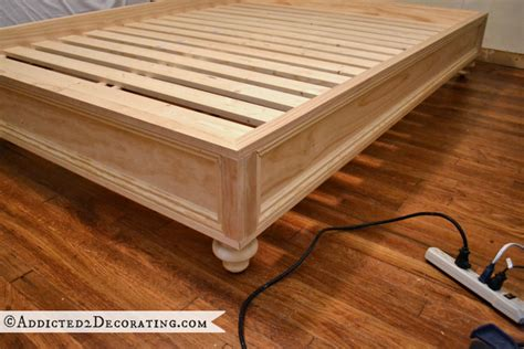 diy wood bed frame diy stained wood raised platform bed frame part 2