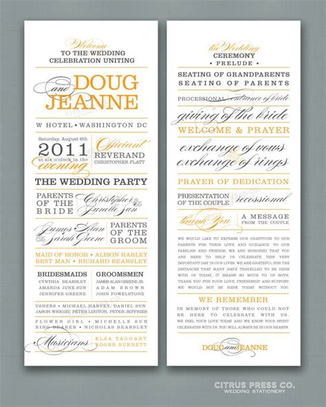 wedding program long block text words pdf one side only