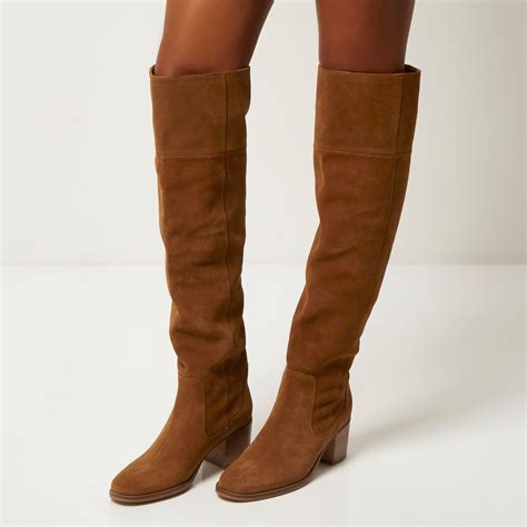 river island brown suede knee high boots in brown lyst
